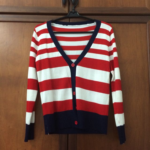 Red White Stripped Cardigan