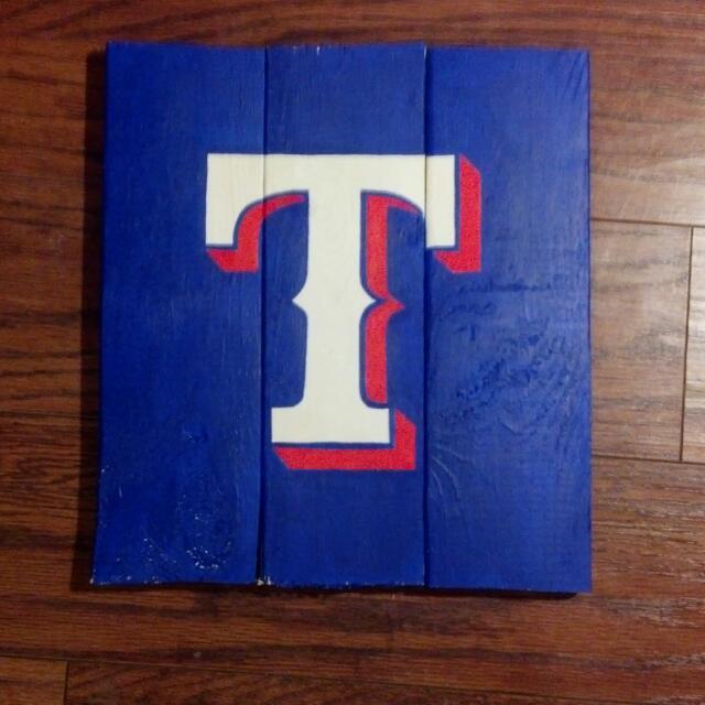 Texas Rangers Wooden Sign