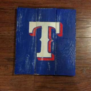 Texas Rangers Distressed Painting On Wood