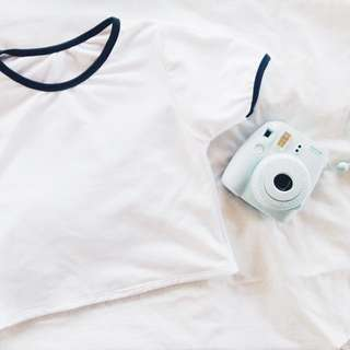 basic white cropped top