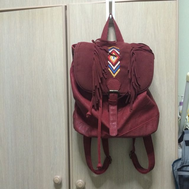 Ethnic Small Backpack with Fringe