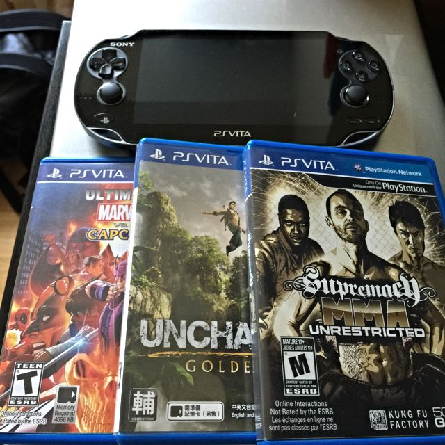 Ps Vita With 3 Games , 32gb , 4gb Memory Card And Its Charger