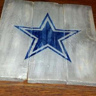 Dallas Cowboys Distressed Painting On Wood