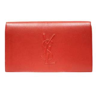 Yves Saint Laurent Large Clutch in red