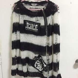 Spiderweb Knitted Punk Sweater