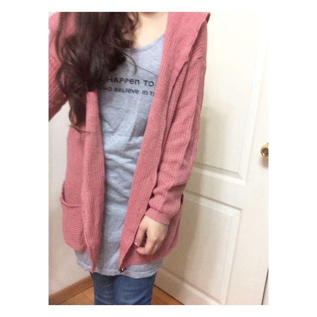 🍒粉色針織連帽外套