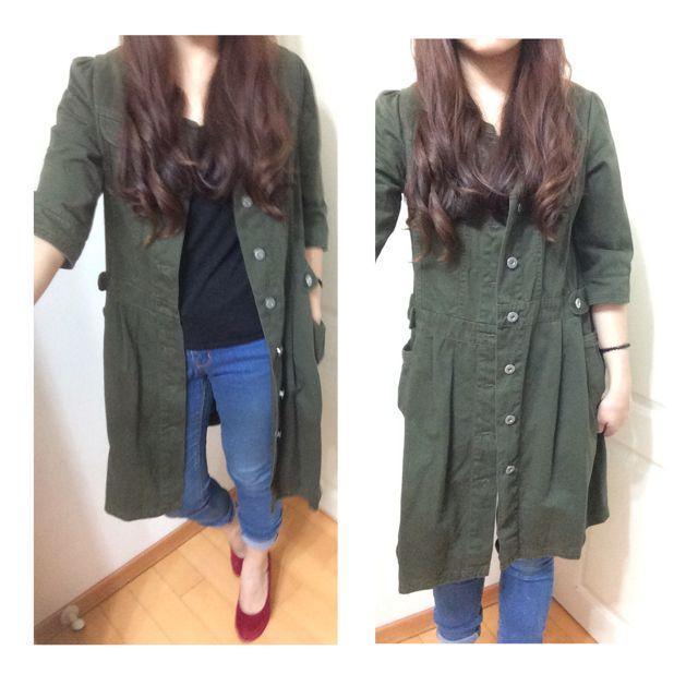 🍒軍綠長洋外套