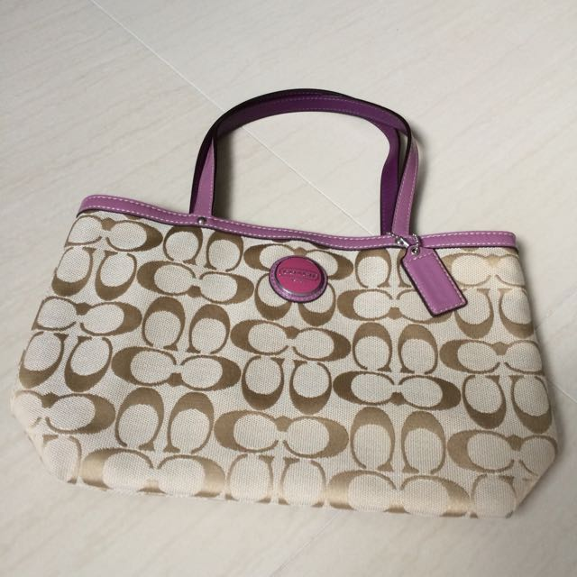 Coach Fabric Bag With Leather Handle Luxury Bags Wallets