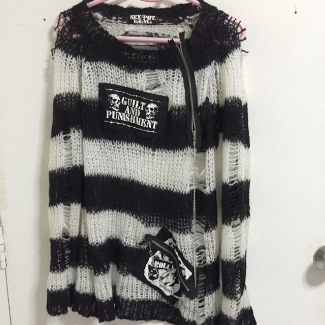 Spiderweb Knitted Punk Sweater