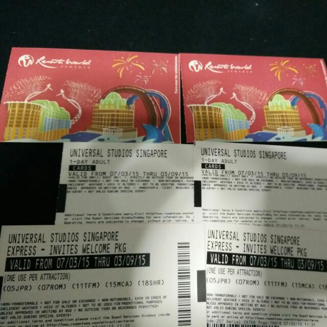 USS Tickets - 2 tickets With 2 Express Pass