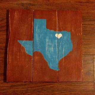 Heart Of Texas Painting On Wood