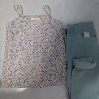 Floral Camisole And Jeans