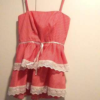 Sweetheart Red And White Gingham Top