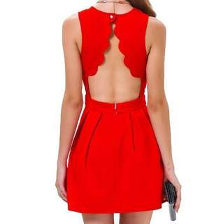 Scallop Back Pleated Dress