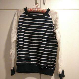 Navy Blue And White Striped Girly Jersey