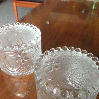 Vintage Bubble Edge Glass Containers
