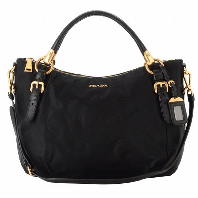 665506174747 Prada Nylon Jacquard Nero Nappa Bag, Luxury on Carousell