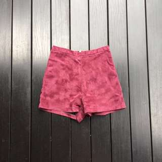 Maroon Suede High Waisted Shorts