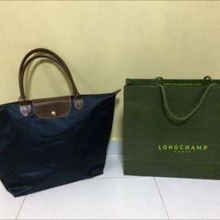 Authentic Dark Blue Longchamp Bag with Paperbag