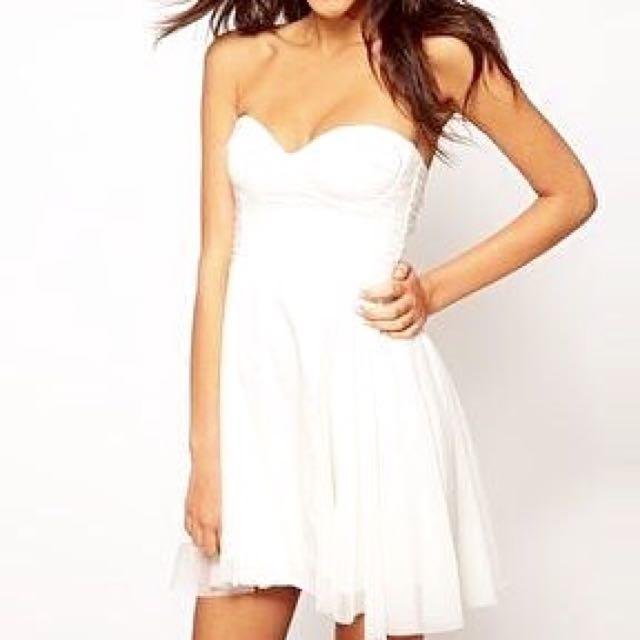 asos  雪紡顯瘦平口洋裝