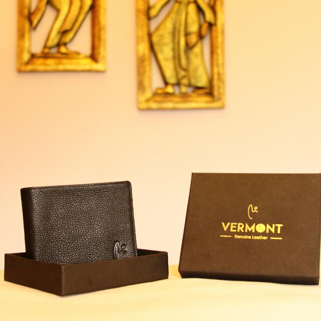 VERMONT V83-A001 Classic Black Genuine Leather Wallet