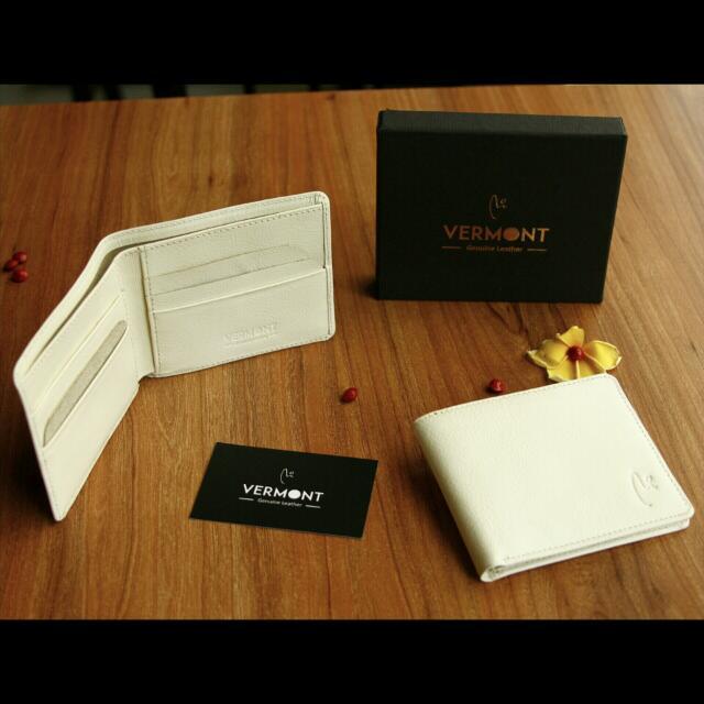 VERMONT V83-c001 Ivory White Genuine Leather Wallet