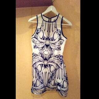 Romanian Print White Dress
