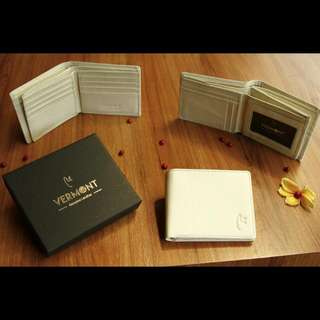 VERMONT V83-A002 Ivory White Genuine Leather Wallet