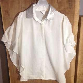 時尚正式垂墜白襯衫