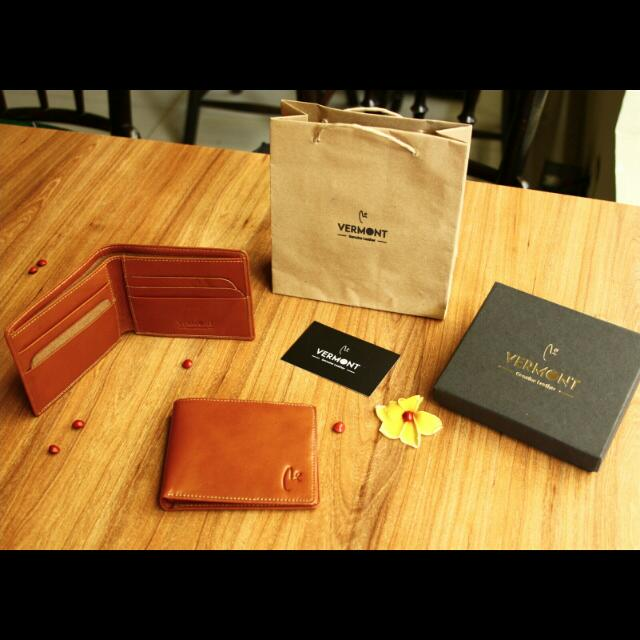 VERMONT V83-c001 Tan Brown Genuine Leather Wallet