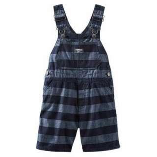 OshKosh Baby Boy Striped Chambray Shortalls - 12M