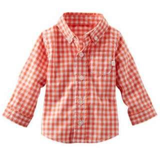 OshKosh Baby Boy Plaid Poplin Shirt - 9M