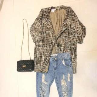 韓國混色長版西裝外套