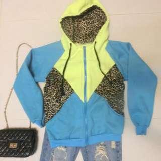 螢光黃+豹紋鋪棉帽T外套