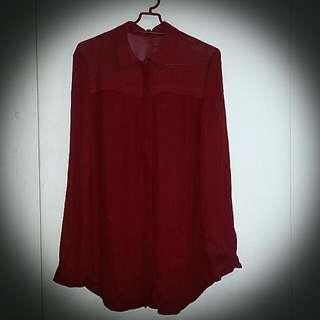 Stradivarius High-low Maroon Long Sleeve Shirt