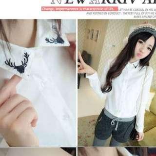 麋鹿頭白襯衫