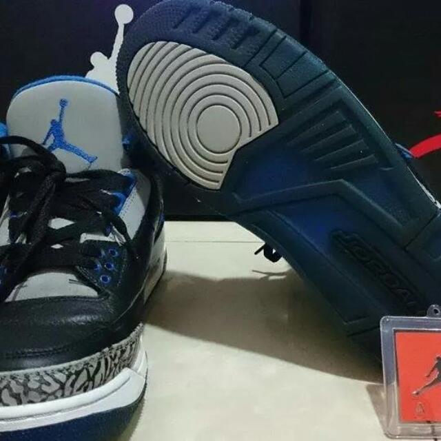 Air Jordan AJ喬丹 3代 黑藍灰配色