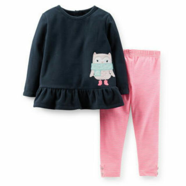 Carter's Baby Girl 2-Pieces Microfleece Top & Legging Set - 12M