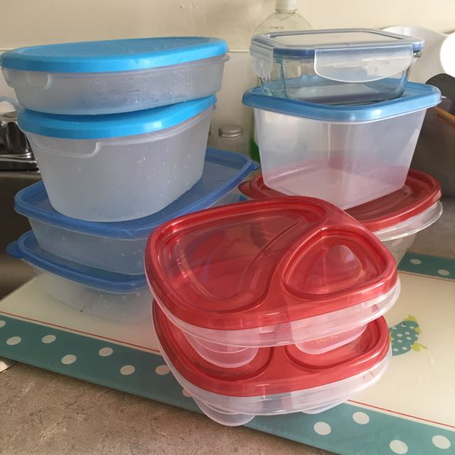 Containers And Table To Cut Vegetables And Meat