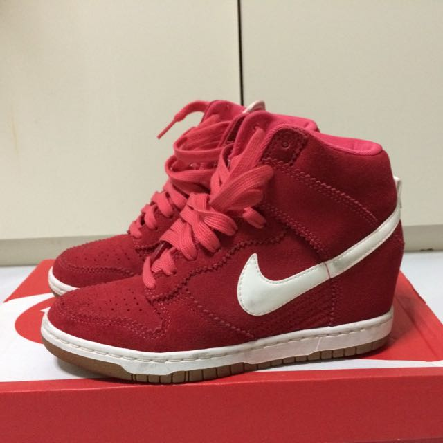 Nike Women Dunk Sky Hi Red Suede Leather