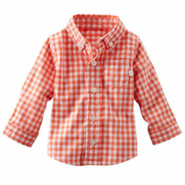 OshKosh Baby Boy Plaid Poplin Shirt - 9M