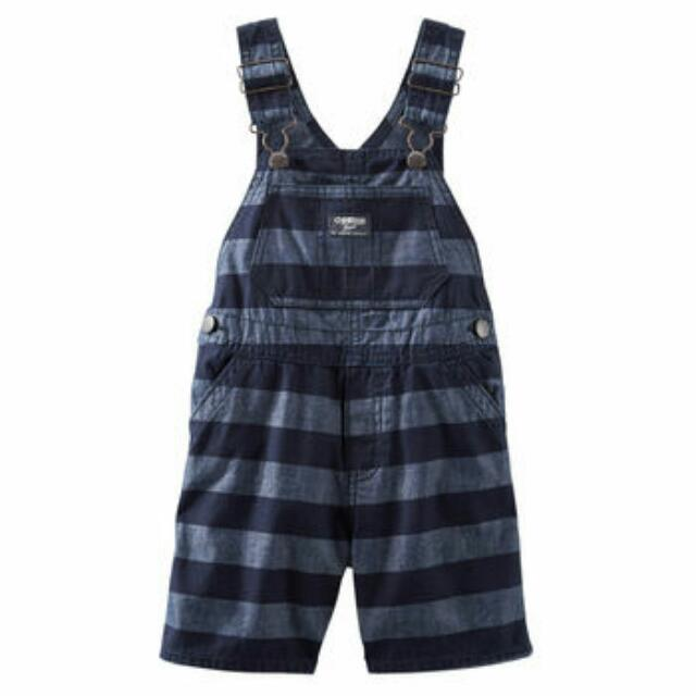 OshKosh Baby Boy Striped Chambray Shortalls - 12M