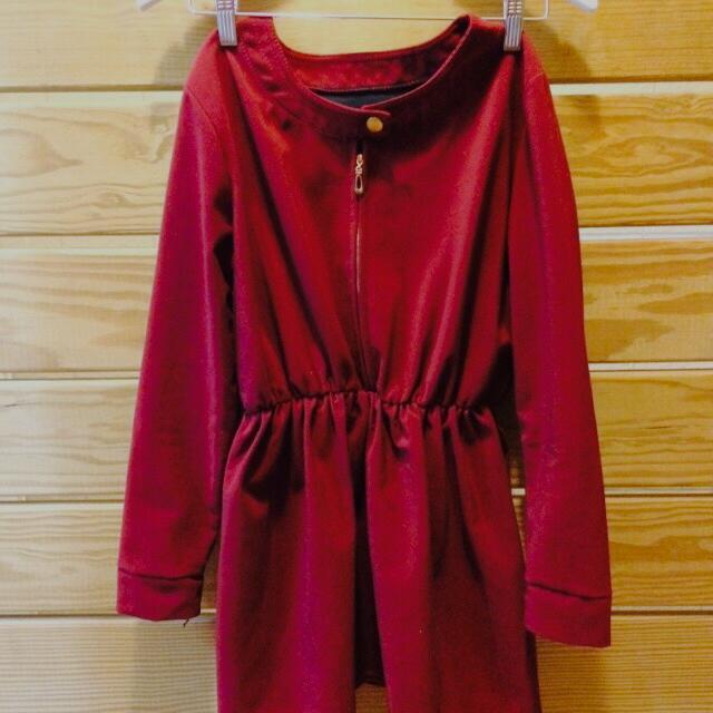 古典酒紅小洋裝