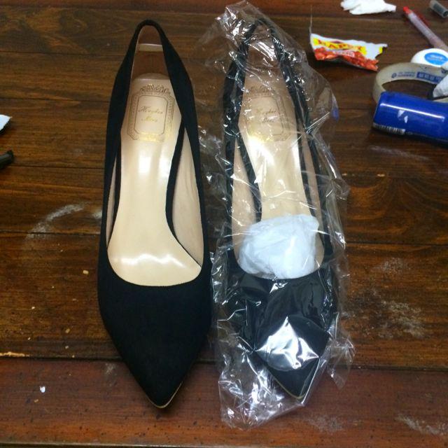 黑色時尚剪頭鞋 6CM 全新