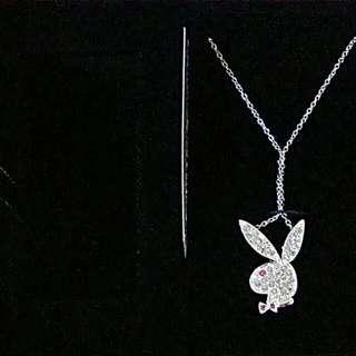 PLAYBOY 兔頭 項鍊 材質:黃銅電鍍銀 水晶