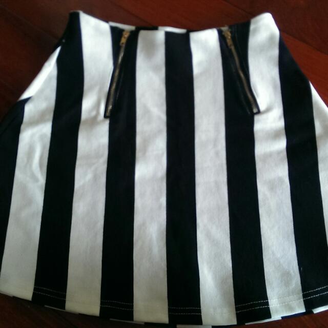 高腰黑白條紋復古裙