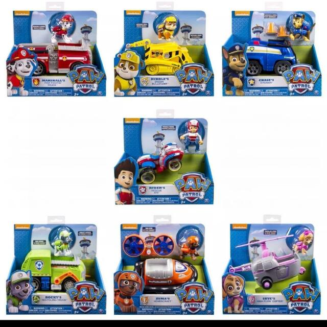 BNIB: Nickelodeon, Paw Patrol - Vehicle and Figure, available in: Chase,  Marshall, Zuma, Skye, Ryder, Rocky and Rubble