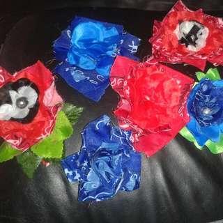 bandanna flower hair clips