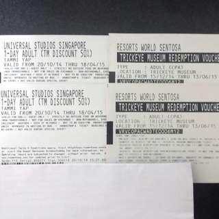 (Pending) Universal Studios Tickets, Trick Eye, Jurong Bird Park