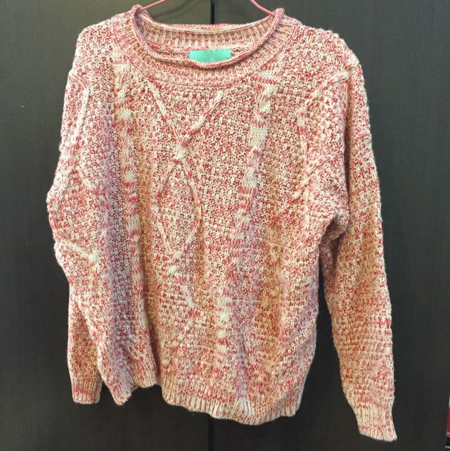 韓風紅色毛衣
